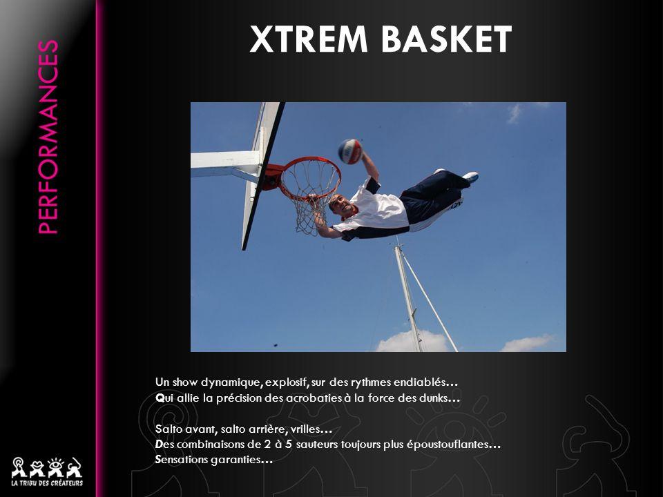 XTREM BASKET Un show dynamique, explosif, sur des rythmes endiablés… Qui allie la précision des acrobaties à la force des dunks… Salto avant, salto arrière, vrilles… Des combinaisons de 2 à 5 sauteurs toujours plus époustouflantes… Sensations garanties…