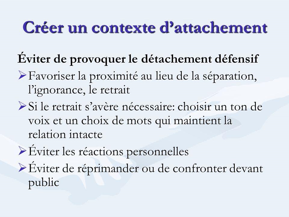 Créer un contexte dattachement Éviter de provoquer le détachement défensif Favoriser la proximité au lieu de la séparation, lignorance, le retrait Fav