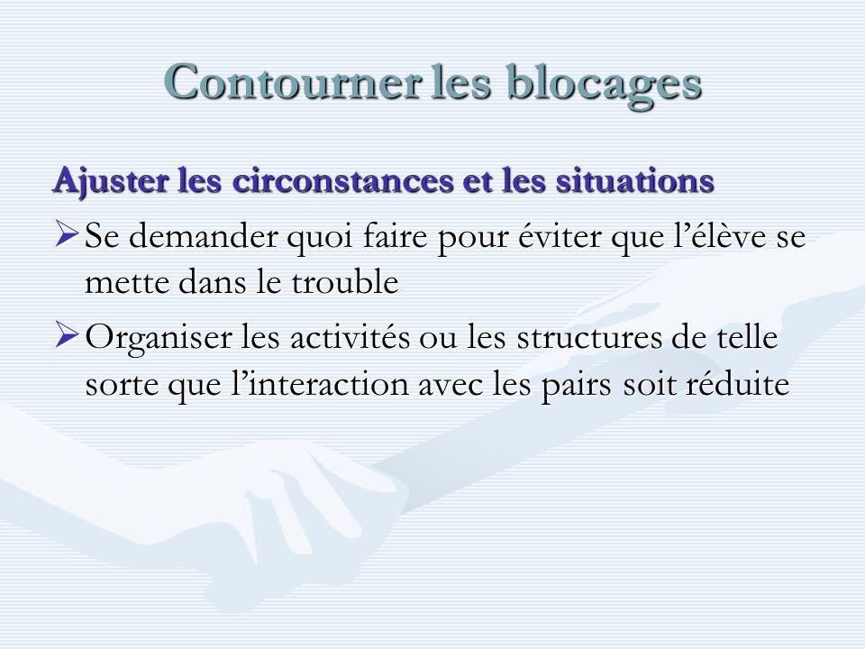 Contourner les blocages Ajuster les circonstances et les situations Se demander quoi faire pour éviter que lélève se mette dans le trouble Se demander
