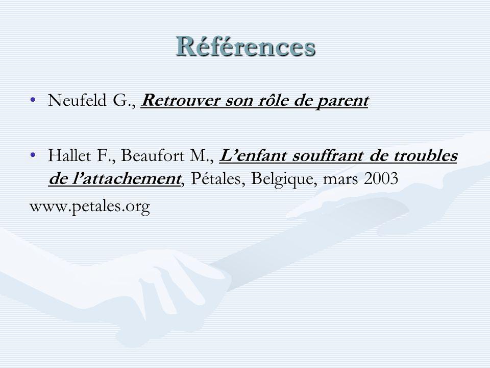 Références Neufeld G., Retrouver son rôle de parentNeufeld G., Retrouver son rôle de parent Hallet F., Beaufort M., Lenfant souffrant de troubles de l