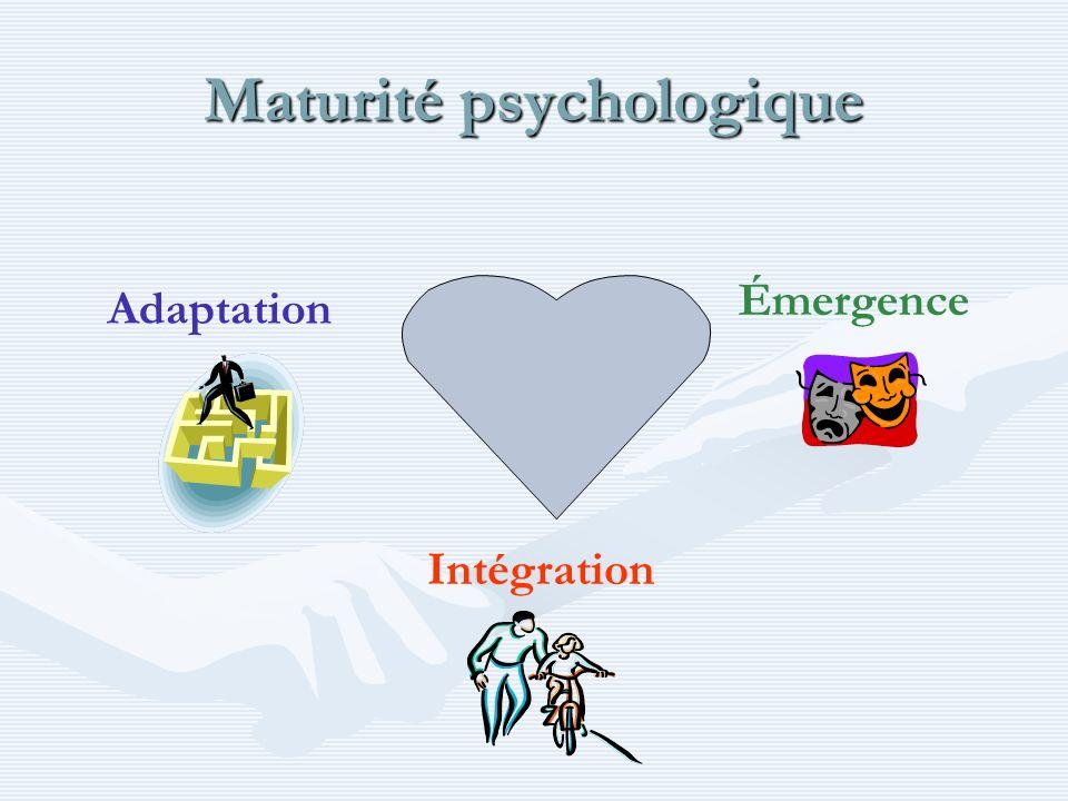 Maturité psychologique Intégration Émergence Adaptation