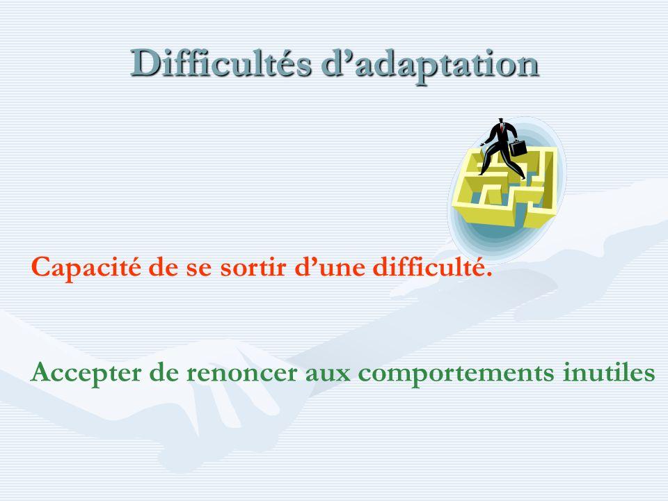 Difficultés dadaptation Capacité de se sortir dune difficulté. Accepter de renoncer aux comportements inutiles