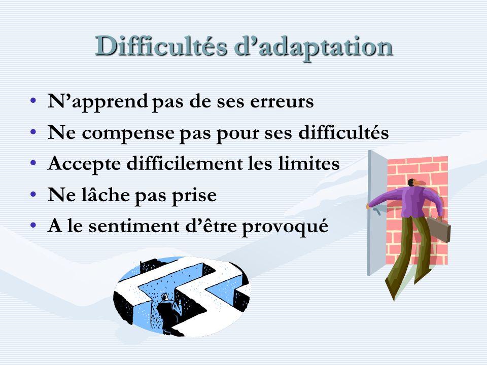 Difficultés dadaptation Napprend pas de ses erreurs Ne compense pas pour ses difficultés Accepte difficilement les limites Ne lâche pas prise A le sen