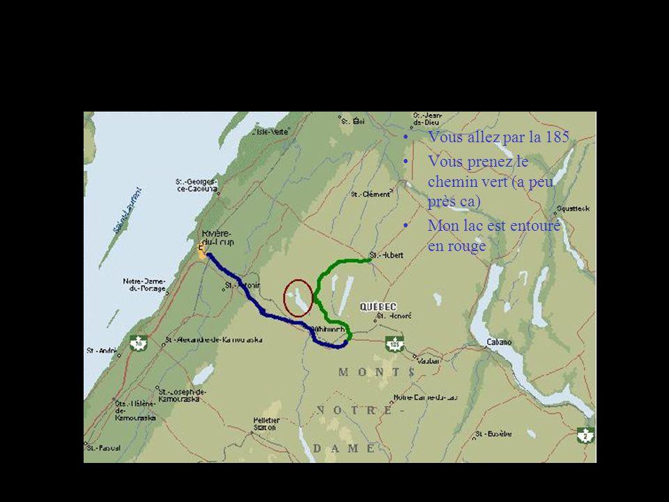 Carte pour aller a mon chalet Vous allez par la 185 Vous prenez le chemin vert (a peu près ca) Mon lac est entouré en rouge