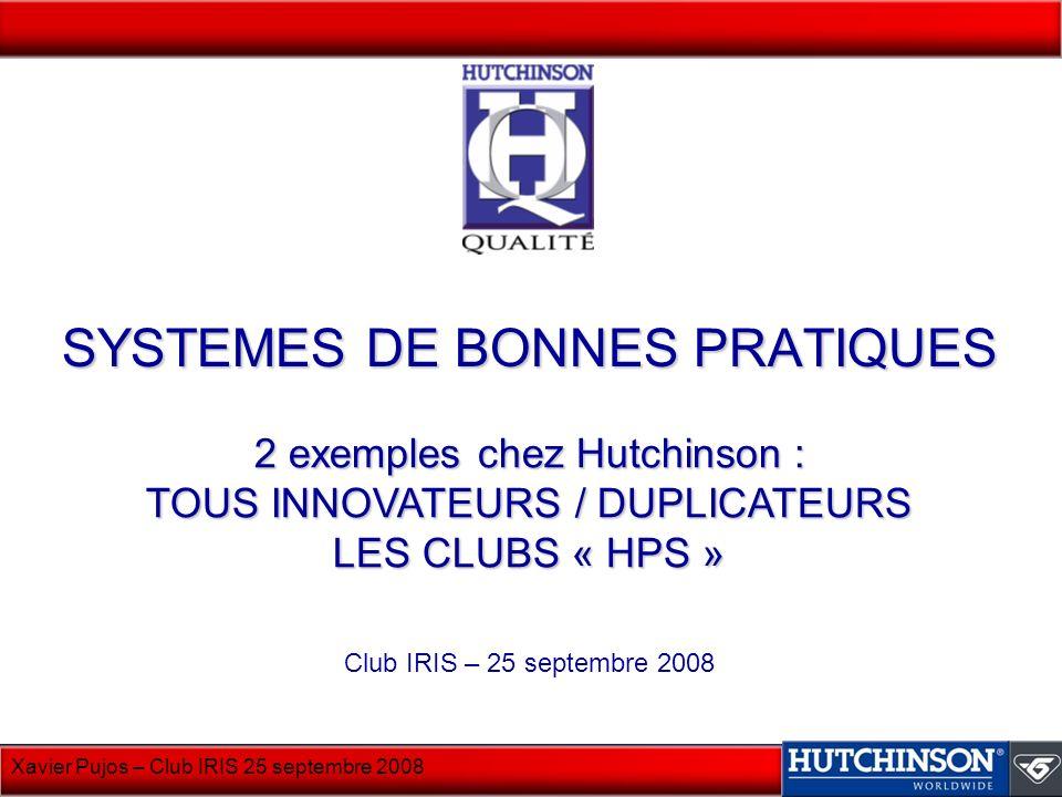 Xavier Pujos – Club IRIS 25 septembre 2008 SYSTEMES DE BONNES PRATIQUES Club IRIS – 25 septembre 2008 2 exemples chez Hutchinson : TOUS INNOVATEURS /