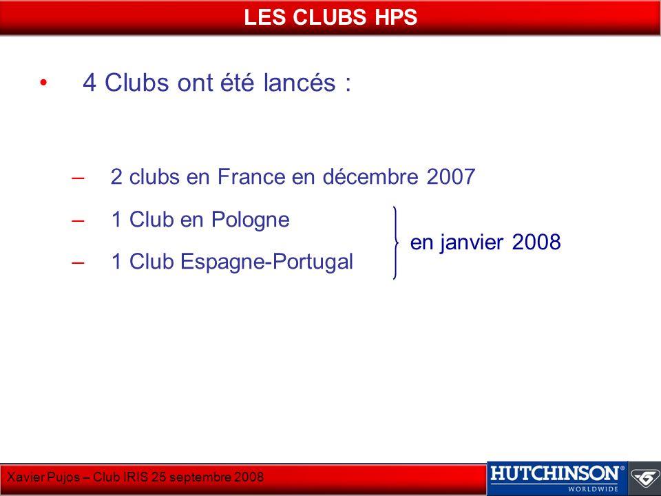 Xavier Pujos – Club IRIS 25 septembre 2008 4 Clubs ont été lancés : –2 clubs en France en décembre 2007 –1 Club en Pologne –1 Club Espagne-Portugal LE
