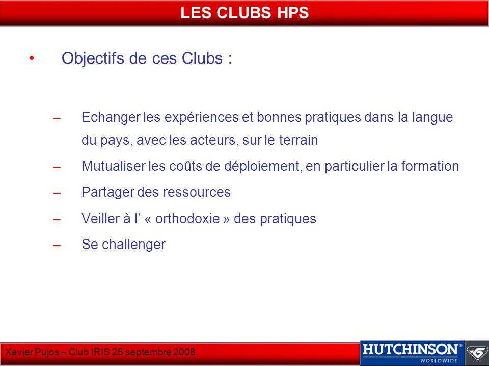 Xavier Pujos – Club IRIS 25 septembre 2008 Objectifs de ces Clubs : –Echanger les expériences et bonnes pratiques dans la langue du pays, avec les act