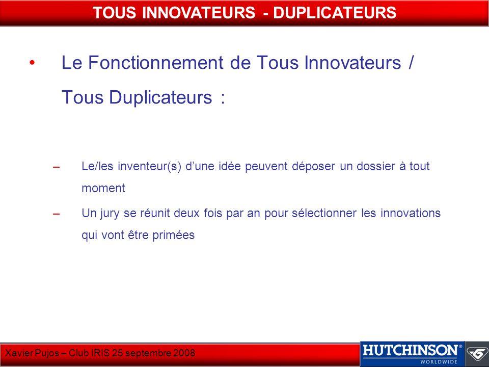 Xavier Pujos – Club IRIS 25 septembre 2008 Le Fonctionnement de Tous Innovateurs / Tous Duplicateurs : –Le/les inventeur(s) dune idée peuvent déposer