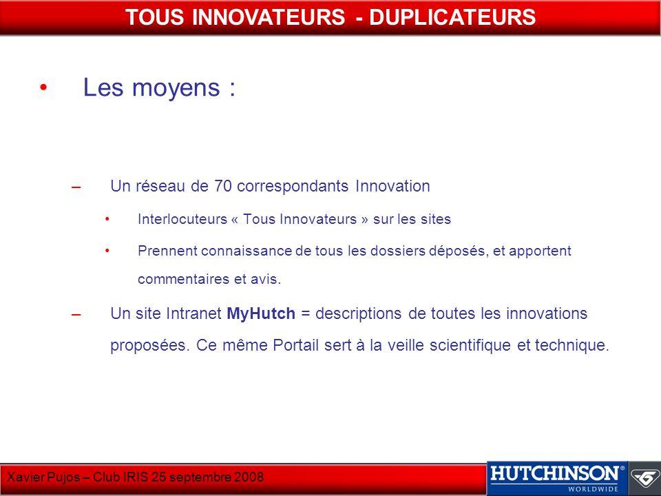 Les moyens : –Un réseau de 70 correspondants Innovation Interlocuteurs « Tous Innovateurs » sur les sites Prennent connaissance de tous les dossiers d