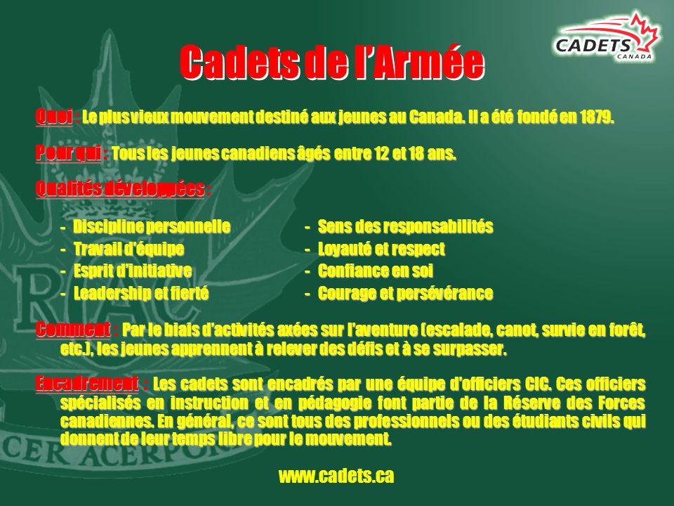 www.cadets.ca Cadets de lArmée Quoi Le plus vieux mouvement destiné aux jeunes au Canada. Il a été fondé en 1879. Quoi : Le plus vieux mouvement desti