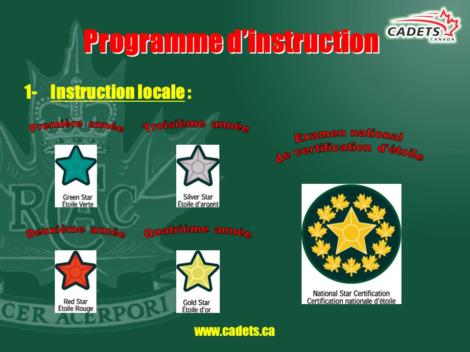 www.cadets.ca Programme dinstruction 1- Instruction locale :