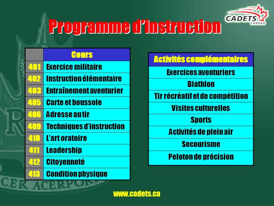 www.cadets.ca Programme dinstruction Cours 401Exercice militaire 402Instruction élémentaire 403Entraînement aventurier 405Carte et boussole 406Adresse