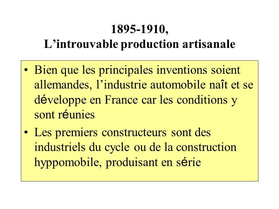 1895-1910, Lintrouvable production artisanale Bien que les principales inventions soient allemandes, lindustrie automobile na î t et se d é veloppe en