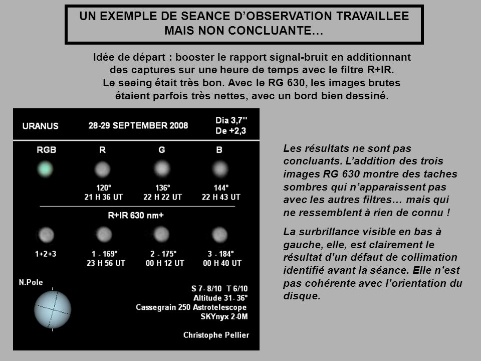 UN EXEMPLE DE SEANCE DOBSERVATION TRAVAILLEE MAIS NON CONCLUANTE… Idée de départ : booster le rapport signal-bruit en additionnant des captures sur un