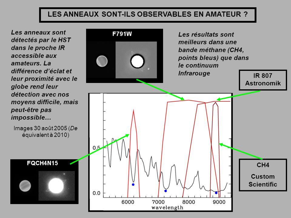 IR 807 Astronomik CH4 Custom Scientific LES ANNEAUX SONT-ILS OBSERVABLES EN AMATEUR ? Les anneaux sont détectés par le HST dans le proche IR accessibl