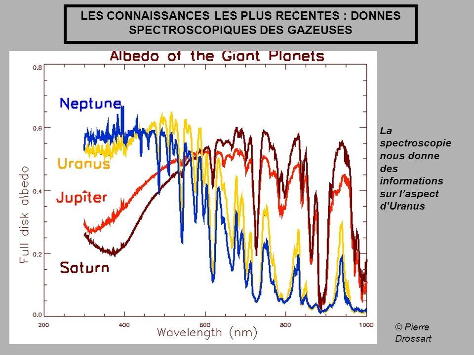 LES CONNAISSANCES LES PLUS RECENTES : DONNES SPECTROSCOPIQUES DES GAZEUSES © Pierre Drossart La spectroscopie nous donne des informations sur laspect