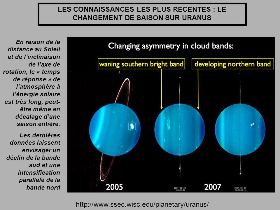 LES CONNAISSANCES LES PLUS RECENTES : LE CHANGEMENT DE SAISON SUR URANUS http://www.ssec.wisc.edu/planetary/uranus/ En raison de la distance au Soleil