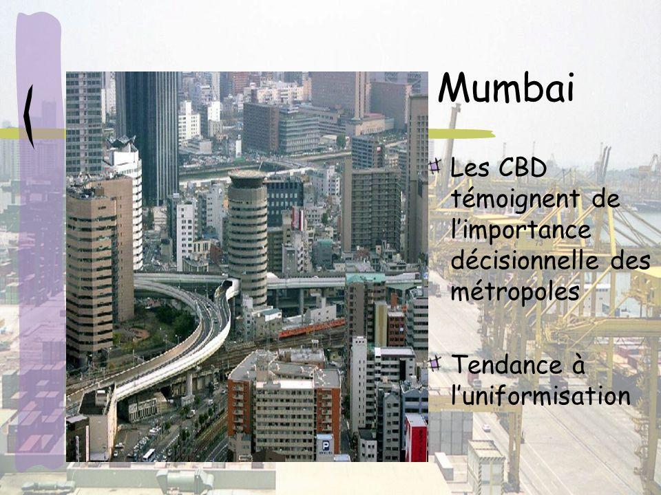 Mumbai Les CBD témoignent de limportance décisionnelle des métropoles Tendance à luniformisation