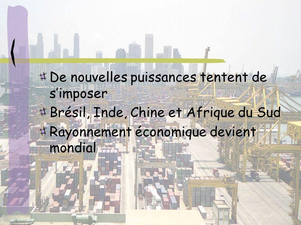 De nouvelles puissances tentent de simposer Brésil, Inde, Chine et Afrique du Sud Rayonnement économique devient mondial