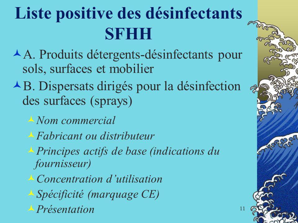 11 Liste positive des désinfectants SFHH A. Produits détergents-désinfectants pour sols, surfaces et mobilier B. Dispersats dirigés pour la désinfecti