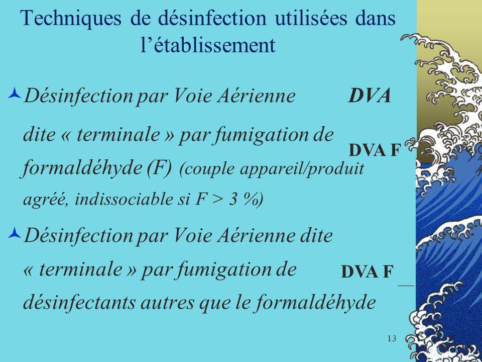 13 Techniques de désinfection utilisées dans létablissement Désinfection par Voie Aérienne DVA dite « terminale » par fumigation de formaldéhyde (F) (