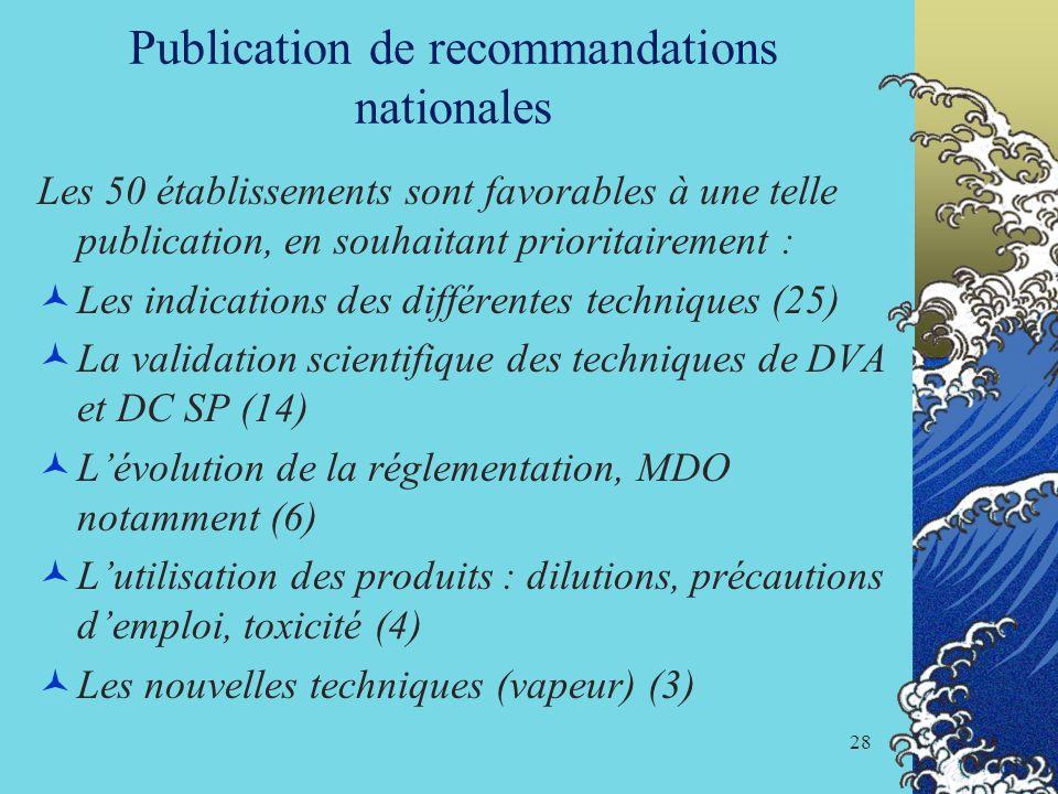 28 Publication de recommandations nationales Les 50 établissements sont favorables à une telle publication, en souhaitant prioritairement : Les indica
