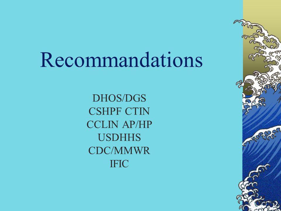 Recommandations DHOS/DGS CSHPF CTIN CCLIN AP/HP USDHHS CDC/MMWR IFIC