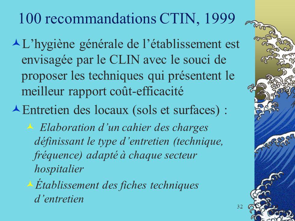 32 100 recommandations CTIN, 1999 Lhygiène générale de létablissement est envisagée par le CLIN avec le souci de proposer les techniques qui présenten