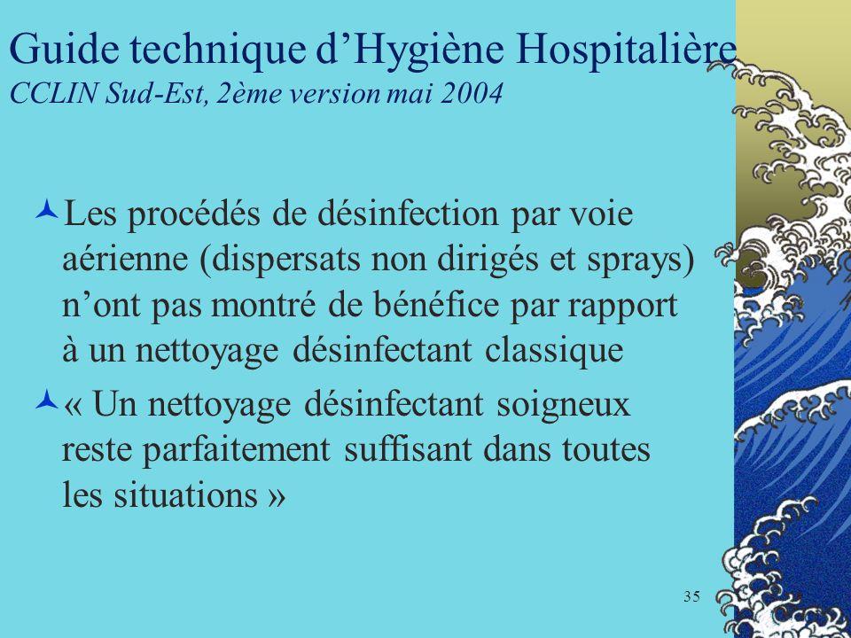 35 Guide technique dHygiène Hospitalière CCLIN Sud-Est, 2ème version mai 2004 Les procédés de désinfection par voie aérienne (dispersats non dirigés e