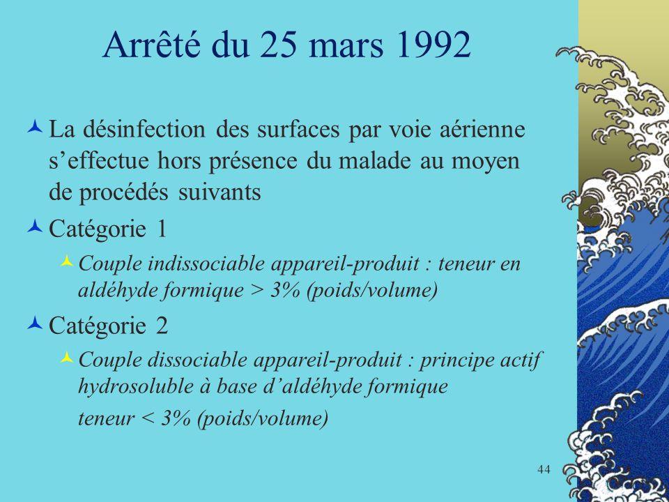 44 Arrêté du 25 mars 1992 La désinfection des surfaces par voie aérienne seffectue hors présence du malade au moyen de procédés suivants Catégorie 1 C