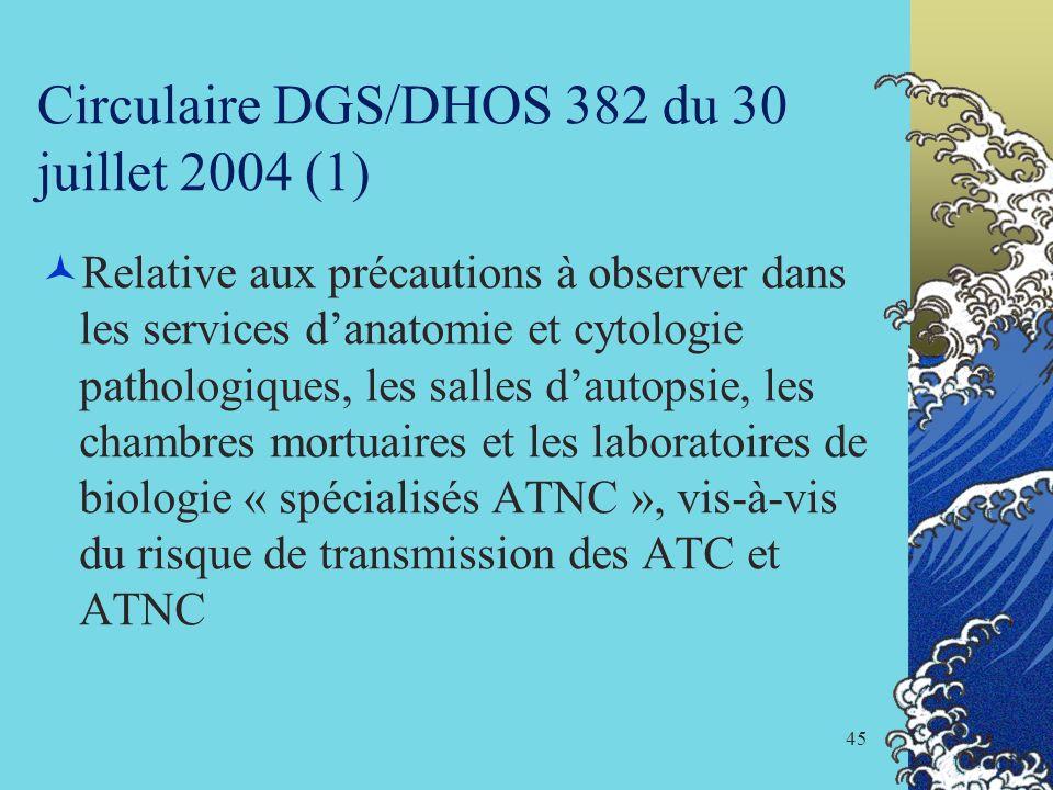 45 Circulaire DGS/DHOS 382 du 30 juillet 2004 (1) Relative aux précautions à observer dans les services danatomie et cytologie pathologiques, les sall