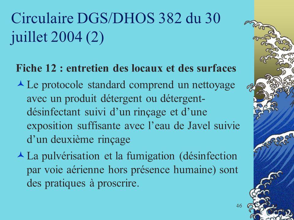 46 Circulaire DGS/DHOS 382 du 30 juillet 2004 (2) Fiche 12 : entretien des locaux et des surfaces Le protocole standard comprend un nettoyage avec un
