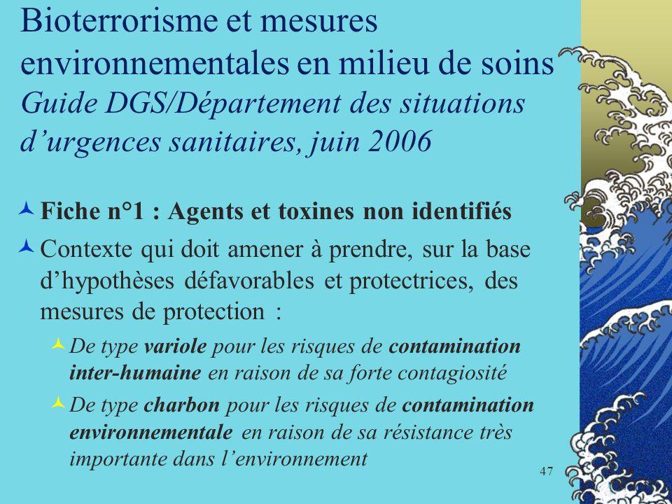 47 Bioterrorisme et mesures environnementales en milieu de soins Guide DGS/Département des situations durgences sanitaires, juin 2006 Fiche n°1 : Agen