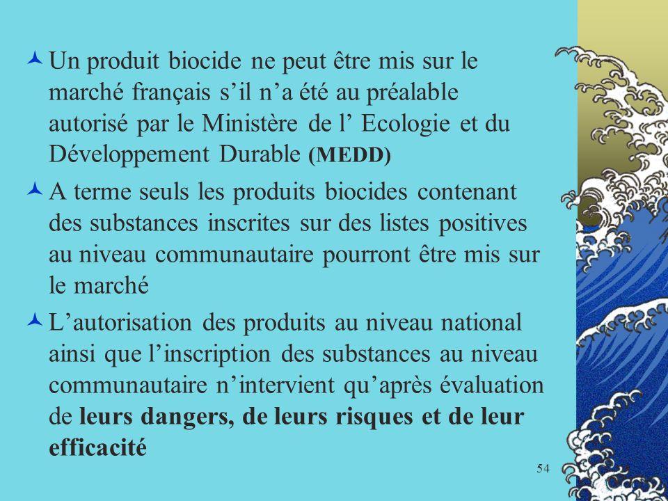 54 Un produit biocide ne peut être mis sur le marché français sil na été au préalable autorisé par le Ministère de l Ecologie et du Développement Dura
