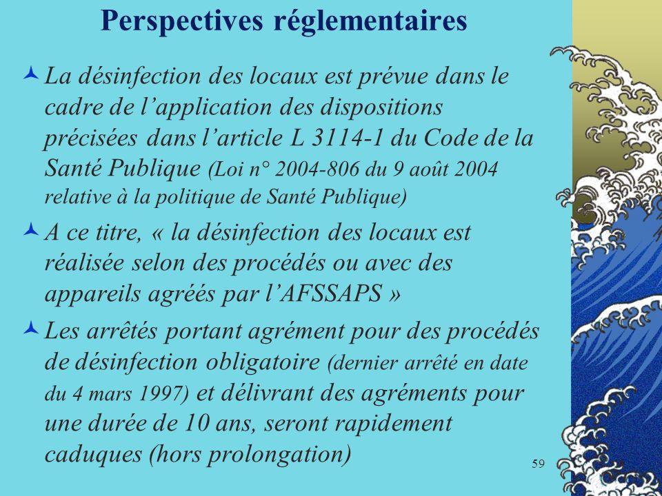 59 Perspectives réglementaires La désinfection des locaux est prévue dans le cadre de lapplication des dispositions précisées dans larticle L 3114-1 d
