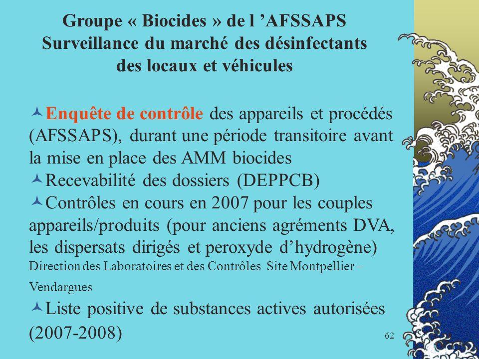 62 Groupe « Biocides » de l AFSSAPS Surveillance du marché des désinfectants des locaux et véhicules Enquête de contrôle des appareils et procédés (AF