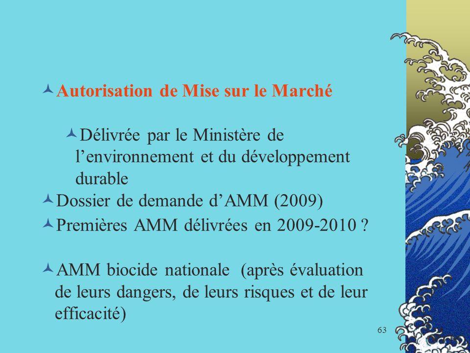 63 Autorisation de Mise sur le Marché Délivrée par le Ministère de lenvironnement et du développement durable Dossier de demande dAMM (2009) Premières