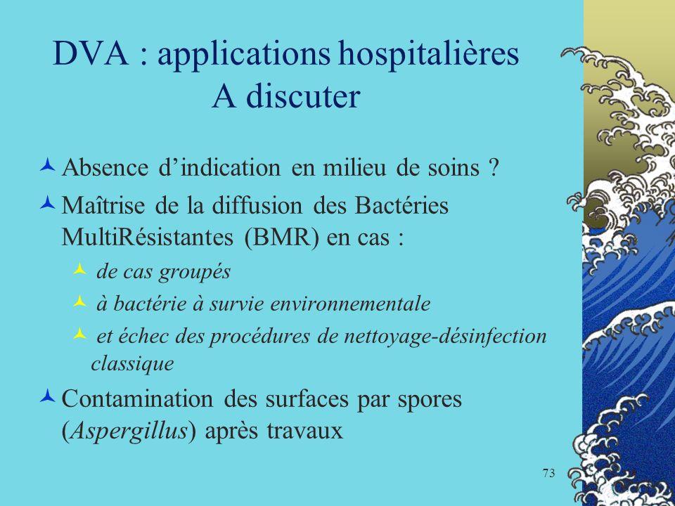 73 DVA : applications hospitalières A discuter Absence dindication en milieu de soins ? Maîtrise de la diffusion des Bactéries MultiRésistantes (BMR)