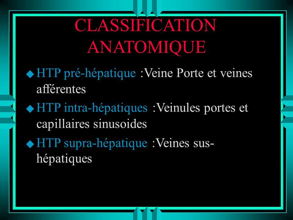 CLASSIFICATION ANATOMIQUE u HTP pré-hépatique :Veine Porte et veines afférentes u HTP intra-hépatiques :Veinules portes et capillaires sinusoides u HT