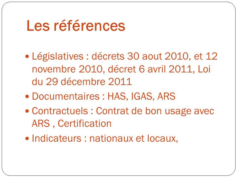 Les références Législatives : décrets 30 aout 2010, et 12 novembre 2010, décret 6 avril 2011, Loi du 29 décembre 2011 Documentaires : HAS, IGAS, ARS C