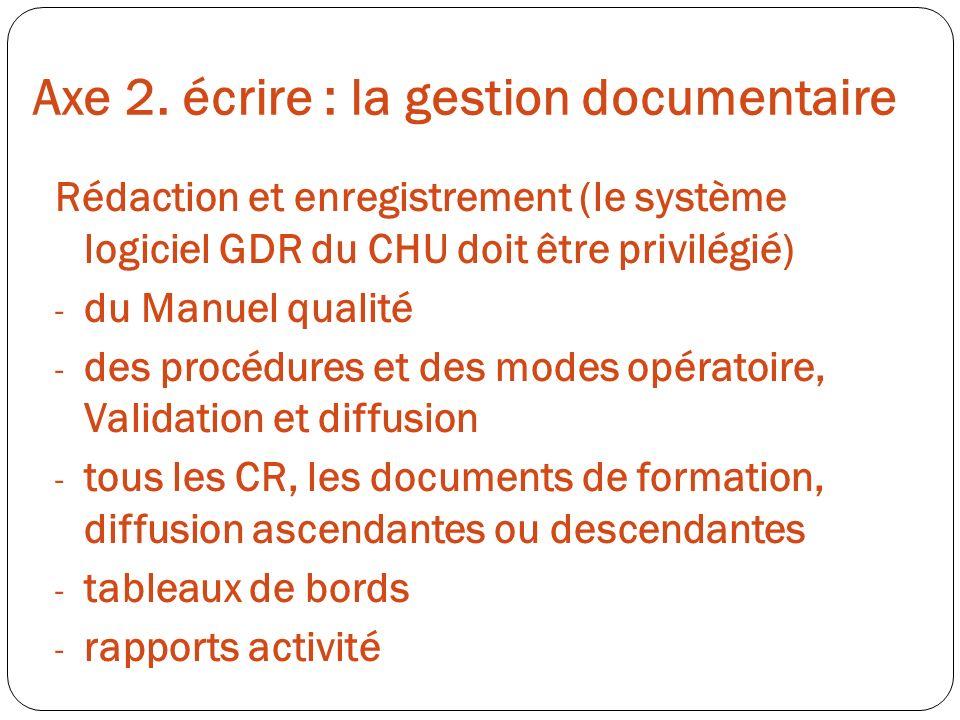 Axe 2. écrire : la gestion documentaire Rédaction et enregistrement (le système logiciel GDR du CHU doit être privilégié) - du Manuel qualité - des pr