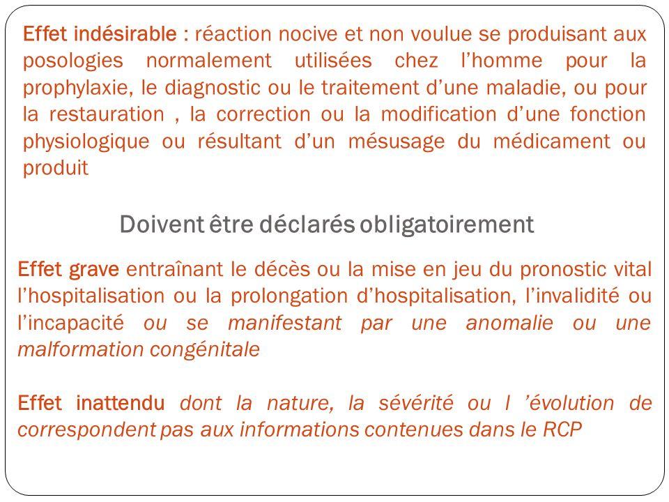 Effet indésirable : réaction nocive et non voulue se produisant aux posologies normalement utilisées chez lhomme pour la prophylaxie, le diagnostic ou
