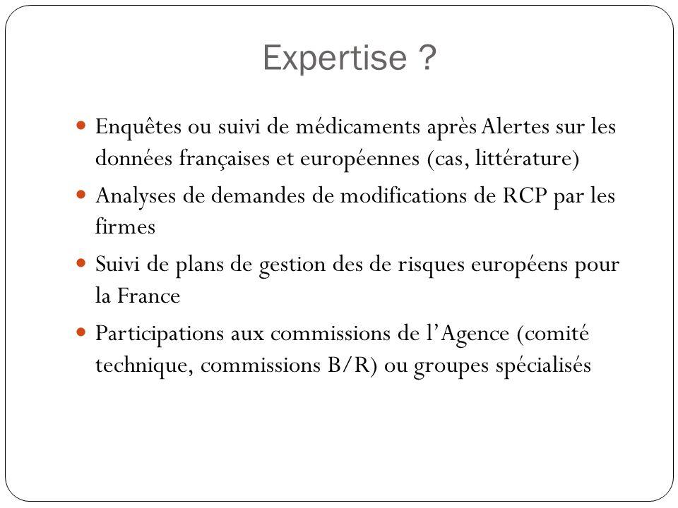 Expertise ? Enquêtes ou suivi de médicaments après Alertes sur les données françaises et européennes (cas, littérature) Analyses de demandes de modifi
