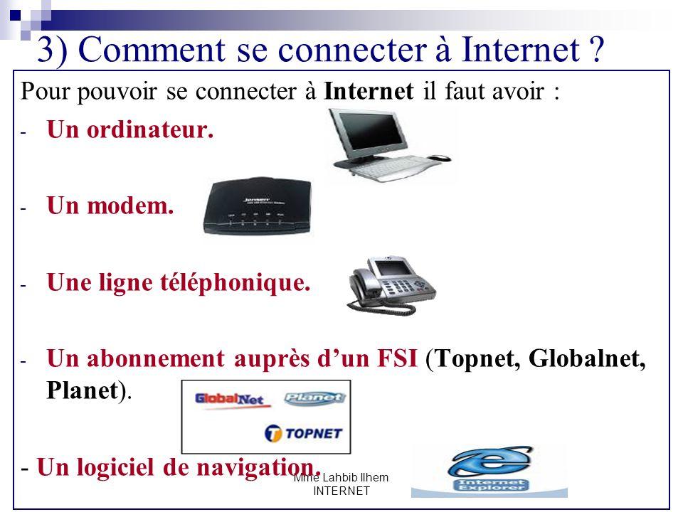 Mme Lahbib Ilhem INTERNET 3) Comment se connecter à Internet ? Pour pouvoir se connecter à Internet il faut avoir : - Un ordinateur. - Un modem. - Une