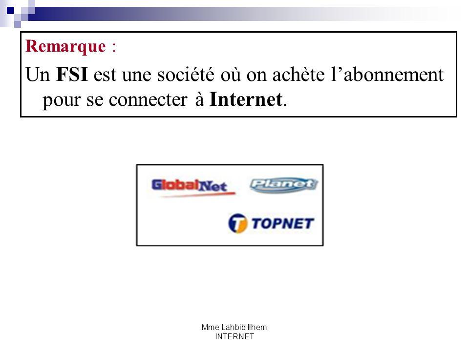Mme Lahbib Ilhem INTERNET Remarque : Un FSI est une société où on achète labonnement pour se connecter à Internet.