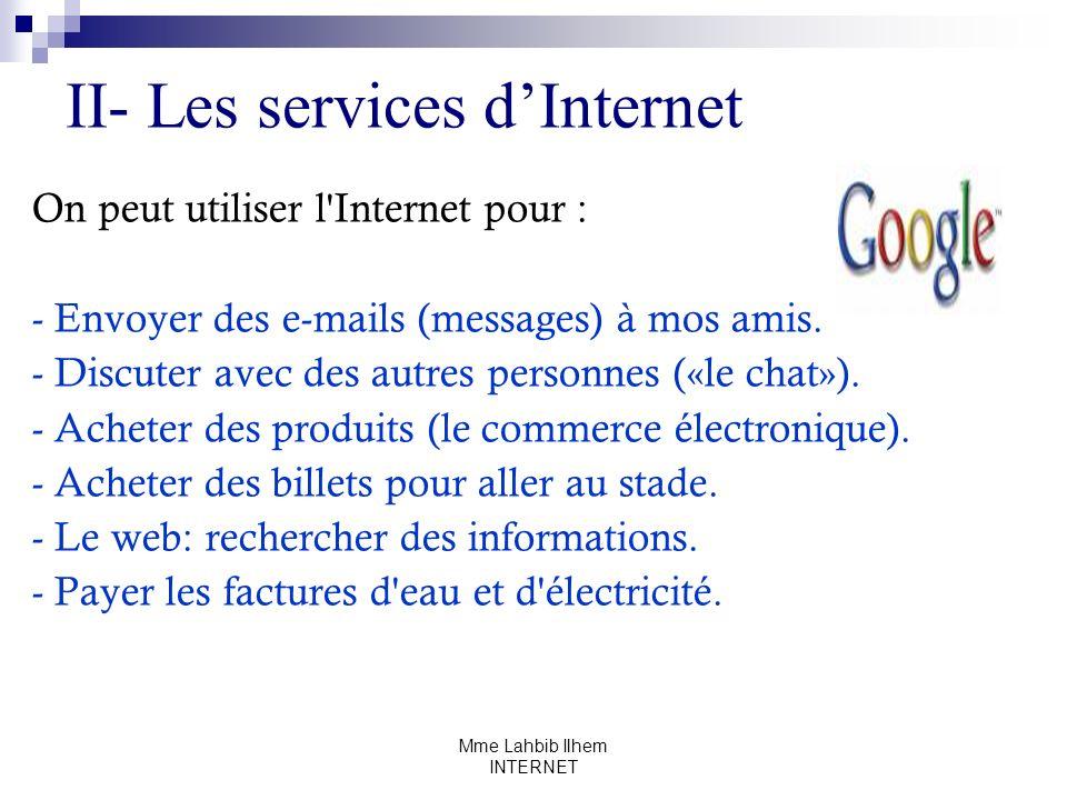 Mme Lahbib Ilhem INTERNET II- Les services dInternet On peut utiliser l'Internet pour : - Envoyer des e-mails (messages) à mos amis. - Discuter avec d