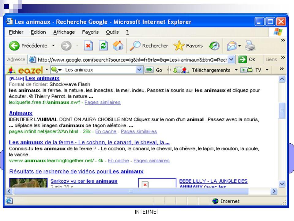 Mme Lahbib Ilhem INTERNET On va utiliser le moteur de recherche Google. Ecrire le terme recherché ici. Les animaux Et cliquer sur « Recherche Google »