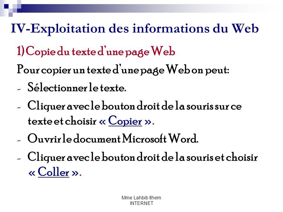 Mme Lahbib Ilhem INTERNET IV-Exploitation des informations du Web 1) Copie du texte dune page Web Pour copier un texte dune page Web on peut: - Sélect