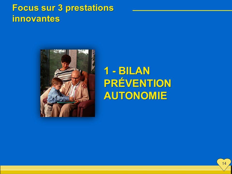 Focus sur 3 prestations innovantes 1 - BILAN PRÉVENTION AUTONOMIE 14