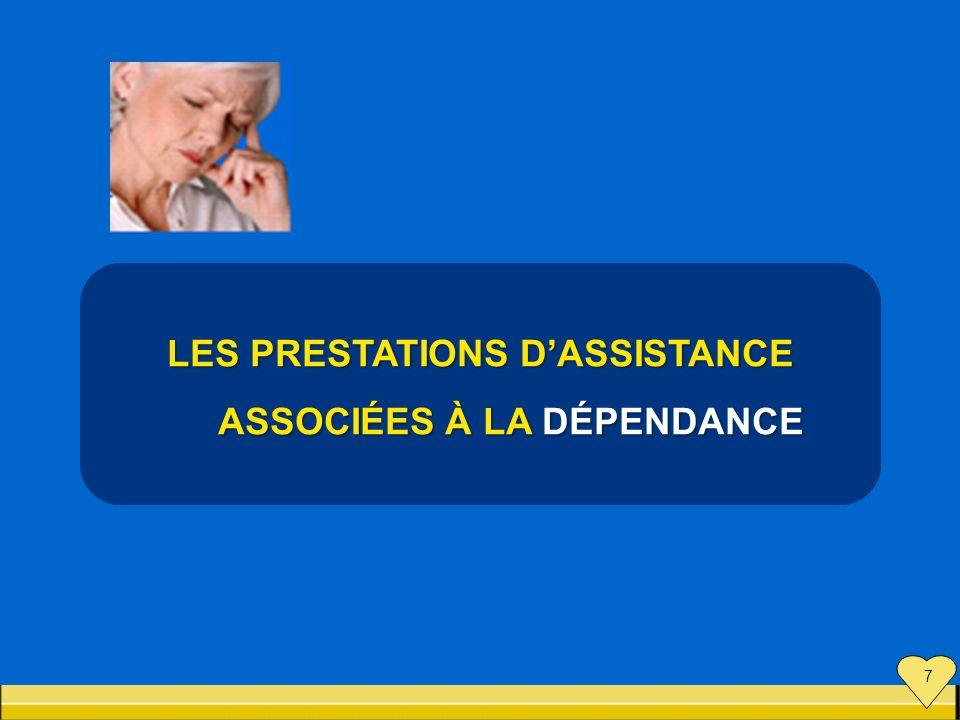 LES PRESTATIONS DASSISTANCE ASSOCIÉES À LA DÉPENDANCE ASSOCIÉES À LA DÉPENDANCE 7